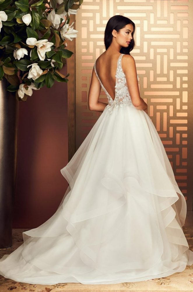 V-Neck Sleeveless Ball Gown Wedding Dress With Embroidered Bodice by Paloma Blanca - Image 2