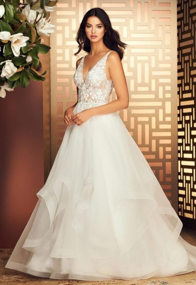 V-Neck Sleeveless Ball Gown Wedding Dress With Embroidered Bodice by Paloma Blanca