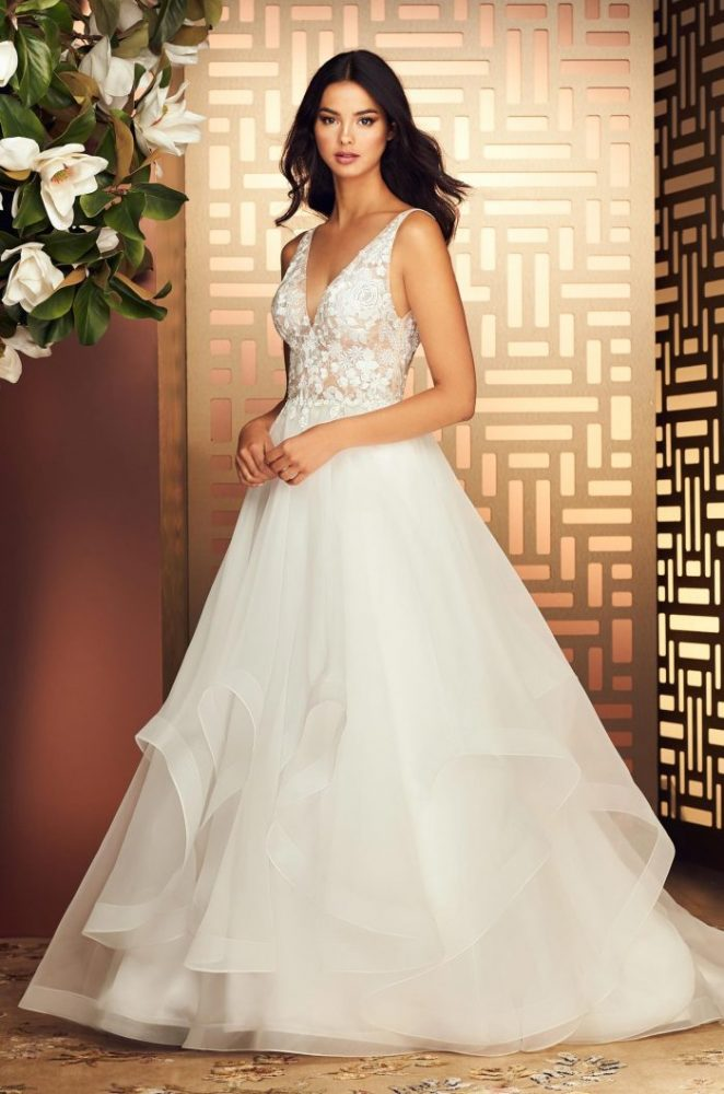 V-Neck Sleeveless Ball Gown Wedding Dress With Embroidered Bodice by Paloma Blanca - Image 1