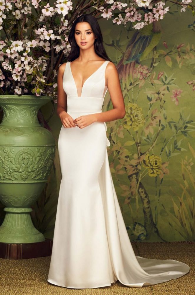 V-Neck Sleeveless Fit And Flare Wedding Dress by Paloma Blanca - Image 1