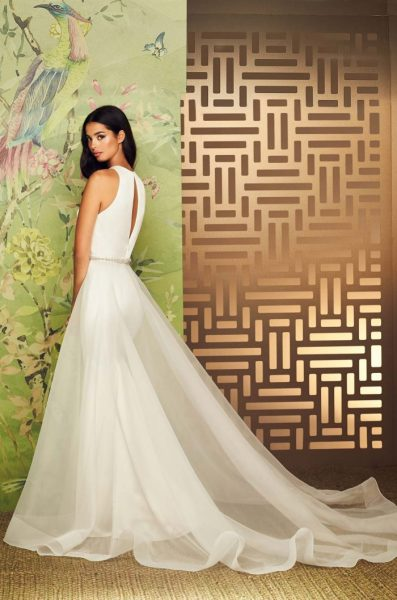 V-Neck Sleeveless Fit And Flare Wedding Dress With Keyhole Back by Paloma Blanca - Image 2
