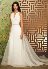 V-Neck Sleeveless Fit And Flare Wedding Dress With Keyhole Back by Paloma Blanca - Image 1