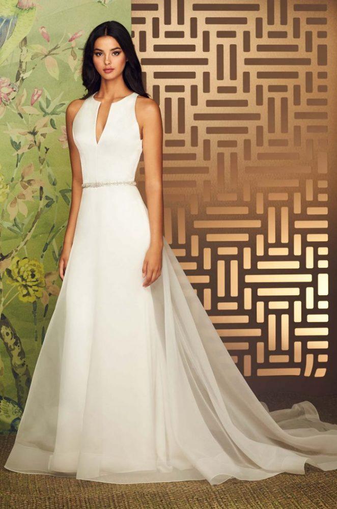 V-Neck Sleeveless Fit And Flare Wedding Dress With Keyhole Back by Paloma Blanca - Image 1