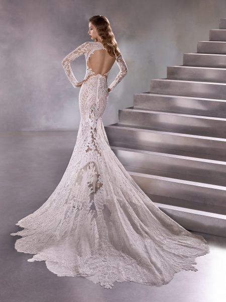 Long Sleeve High Neck Sheath Wedding Dress With Lace Back by Pronovias - Image 2