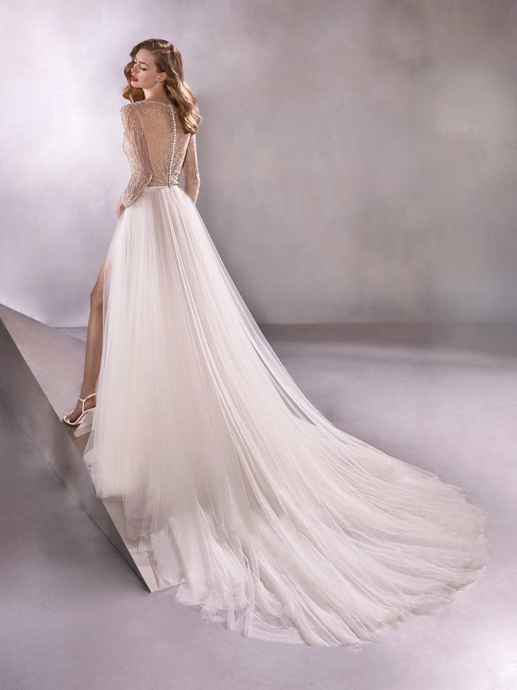 Long Sleeve V-neck A-line Wedding Dress With Beaded Bodice by Pronovias - Image 2