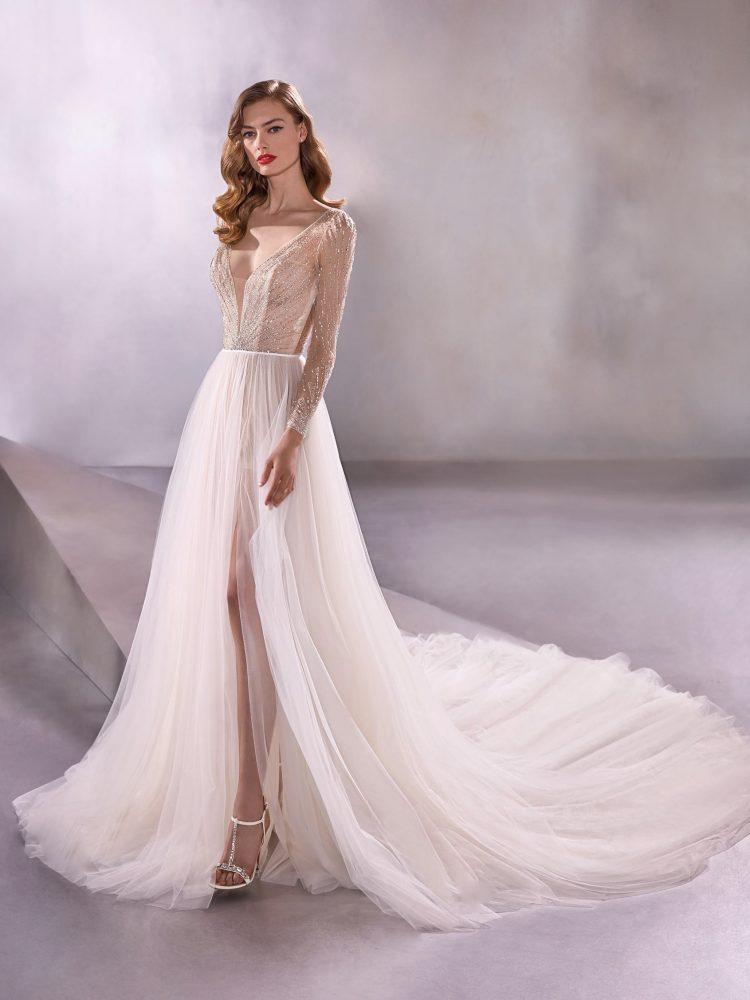 Long Sleeve V-neck A-line Wedding Dress With Beaded Bodice by Pronovias - Image 1