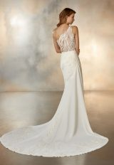 One Shoulder Crepe Sheath Wedding Dress With Beaded Detail by Pronovias - Image 2