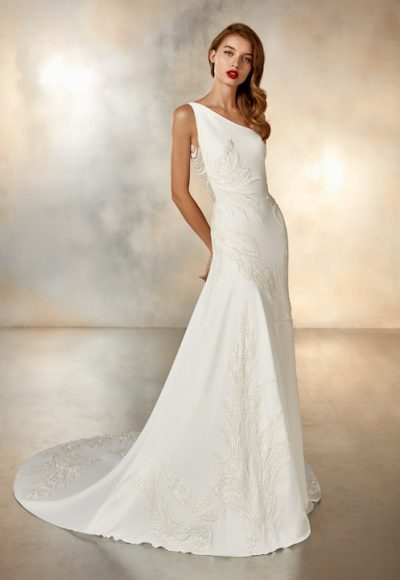 One Shoulder Crepe Sheath Wedding Dress With Beaded Detail by Pronovias