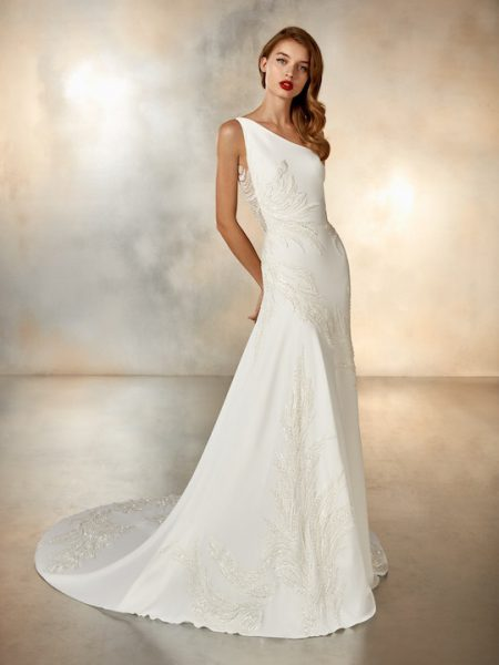 One Shoulder Crepe Sheath Wedding Dress With Beaded Detail by Pronovias - Image 1