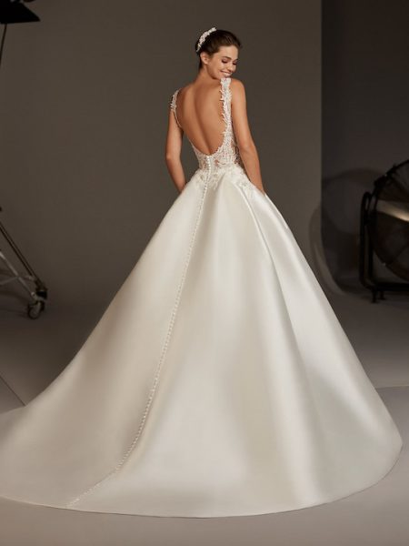 Sleeveless High Neck Ballgown With Sheer Lace by Pronovias - Image 2