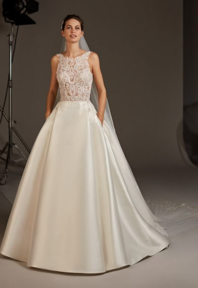 Sleeveless High Neck Ballgown With Sheer Lace by Pronovias