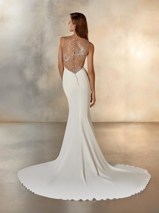 Sleeveless High Neck Mermaid Wedding Dress With Beading At Neckline by Pronovias - Image 2