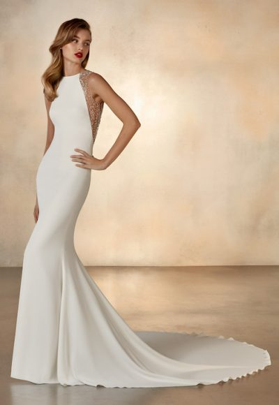 Sleeveless High Neck Mermaid Wedding Dress With Beading At Neckline by Pronovias