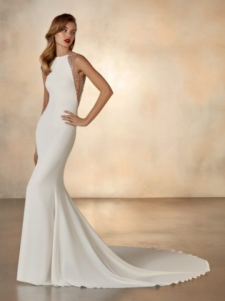 Sleeveless High Neck Mermaid Wedding Dress With Beading At Neckline