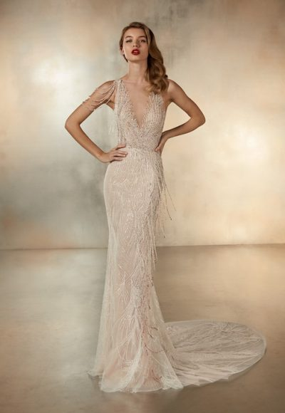 Sleeveless V-Neck Mermaid Wedding Dress With Beaded Fringe Detail by Pronovias
