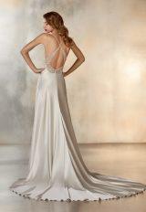Sleeveless V-Neck Sheath Wedding Dress In SIlver by Pronovias - Image 2
