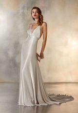 Sleeveless V-Neck Sheath Wedding Dress In SIlver by Pronovias - Image 1