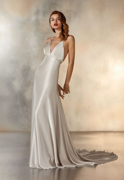 Sleeveless V-Neck Sheath Wedding Dress In SIlver by Pronovias