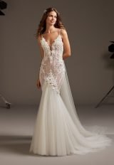 Spaghetti Strap V-Neck Mermaid Wedding Dress With Tulle Skirt by Pronovias - Image 1