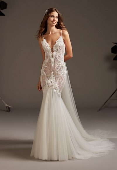 Spaghetti Strap V-Neck Mermaid Wedding Dress With Tulle Skirt by Pronovias