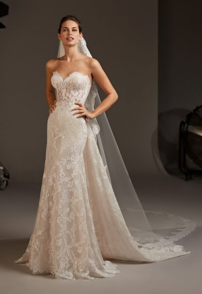 Sweetheart Strapless Mermaid Dress With Semi-Sheer Corset by Pronovias