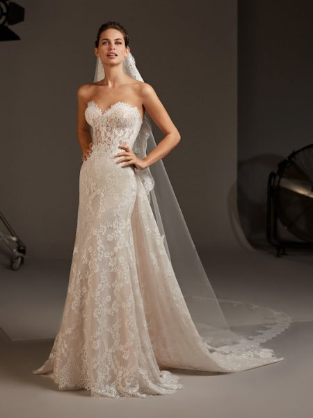 Sweetheart Strapless Mermaid Dress With Semi-Sheer Corset by Pronovias - Image 1
