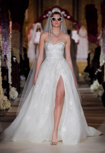 Strapless Sweetheart Ballgown Wedding Dress With Beaded Detail by Reem Acra