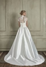 High Neck Illusion Cap Sleeve Lace A-Line Wedding Dress by Sareh Nouri - Image 2