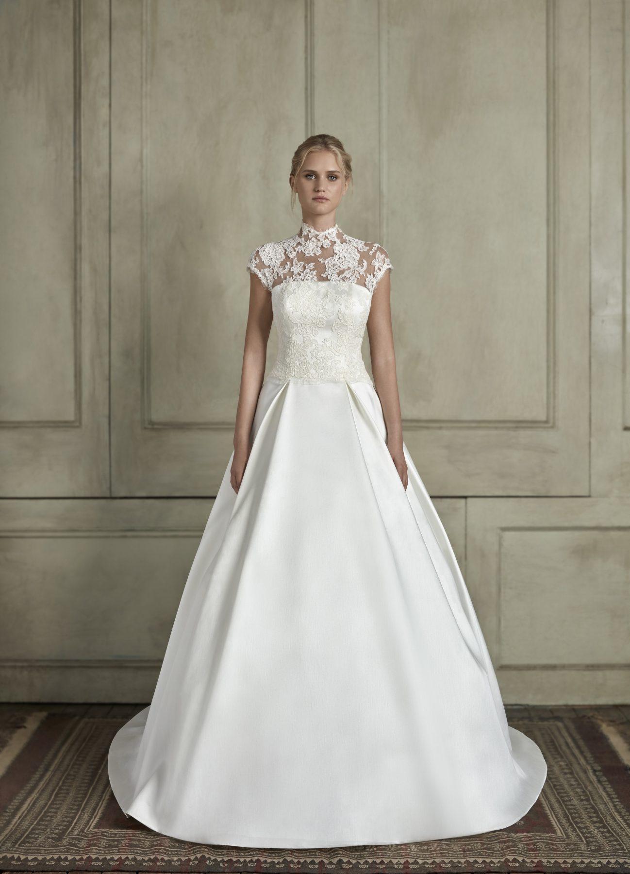 High Neck Illusion Cap Sleeve Lace A Line Wedding Dress ...