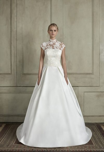 High Neck Illusion Cap Sleeve Lace A-Line Wedding Dress by Sareh Nouri