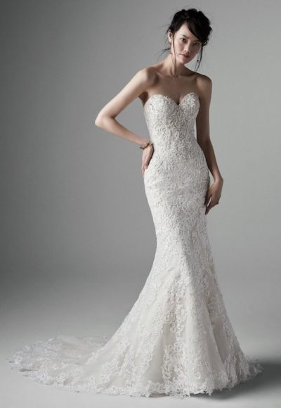 Strapless Crystal Encrusted Sweetheart Fit And Flare Wedding Dress by Sottero and Midgley