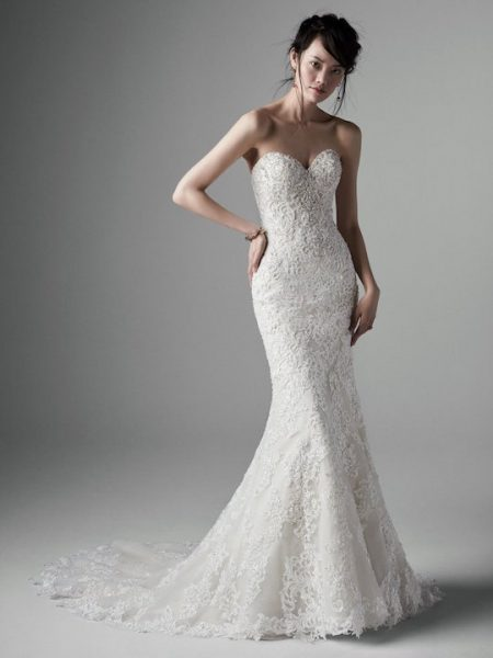 Strapless Crystal Encrusted Sweetheart Fit And Flare Wedding Dress by Sottero and Midgley - Image 1