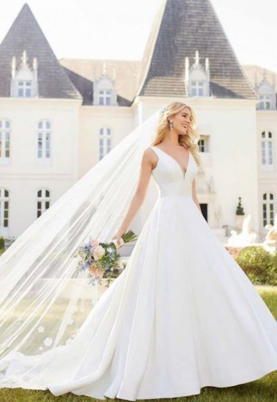 Sleeveless V-Neck Ballgown Wedding Dress With Buttons Down The Back by Stella York