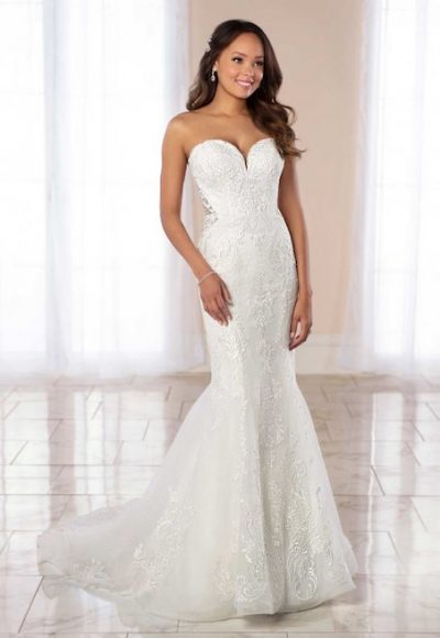 Strapless Sweetheart Neckline Beaded Lace Mermaid Wedding Dress by Stella York