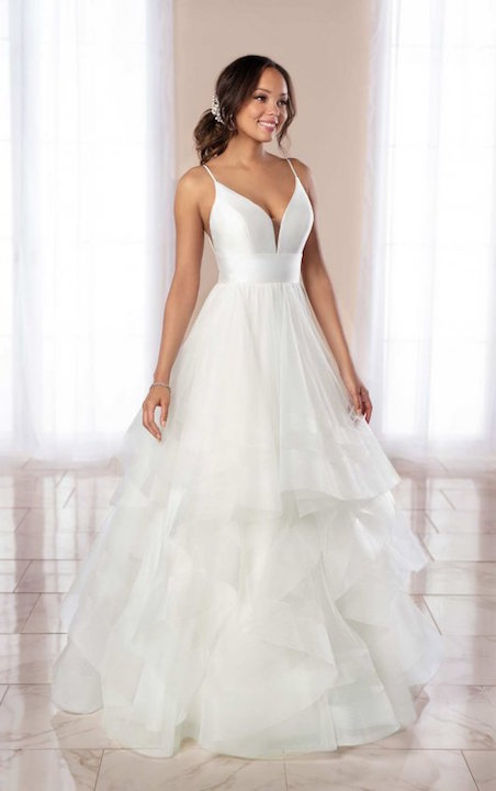 V-Neck Spaghetti Strap A-line Wedding Dress With Tiered Tulle Skirt by Stella York - Image 1