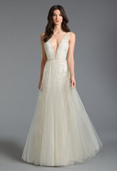 Sleeveless V-Neck A-Line Wedding Dress With Tulle Skirt by Tara Keely