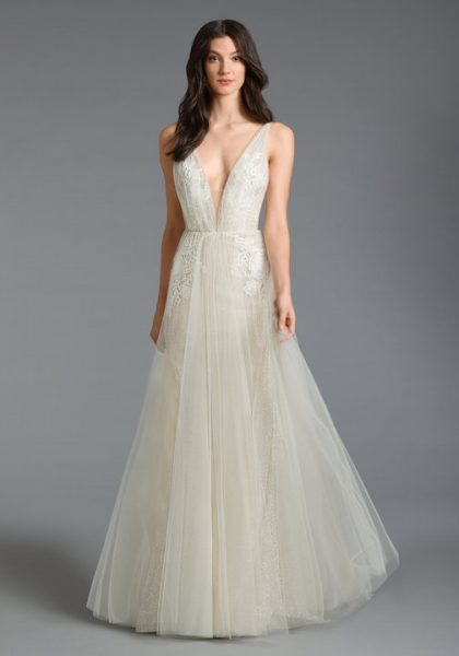 Sleeveless V-Neck A-Line Wedding Dress With Tulle Skirt by Tara Keely - Image 1