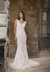 Deep V-Neck Sleeeveless Mermaid Wedding Dress With Floral Appliques by Tony Ward - Image 1