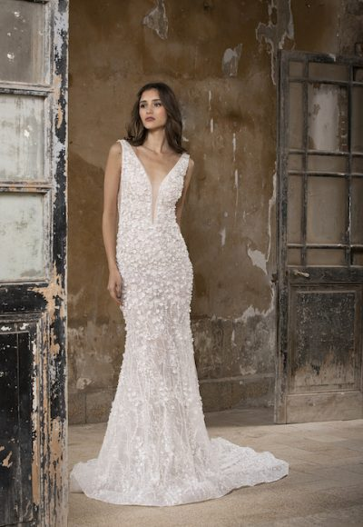 Deep V-Neck Sleeeveless Mermaid Wedding Dress With Floral Appliques by Tony Ward