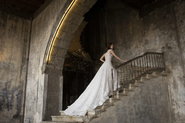 High Neck Sleeveless A-Line Wedding Dress With Illusion Beading by Tony Ward - Image 2