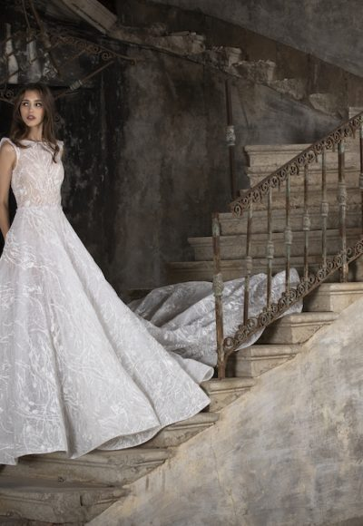High Neck Sleeveless A-Line Wedding Dress With Illusion Beading by Tony Ward
