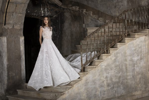 High Neck Sleeveless A-Line Wedding Dress With Illusion Beading by Tony Ward - Image 1