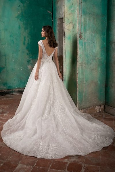 V-Neck Cap Sleeve A-Line Wedding Dress With Detabachable Overskirt by Tony Ward - Image 2