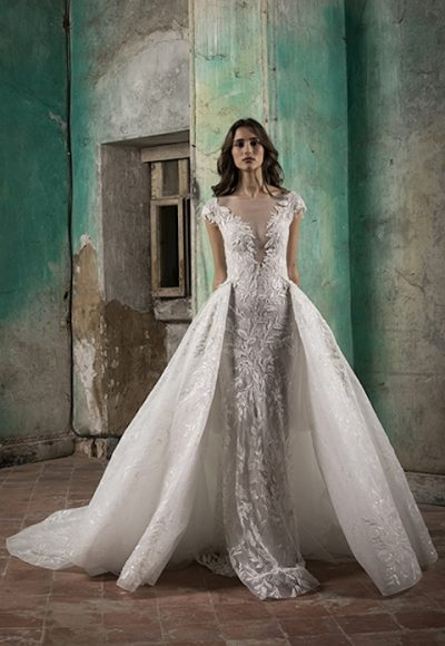 V-Neck Cap Sleeve A-Line Wedding Dress With Detabachable Overskirt by Tony Ward