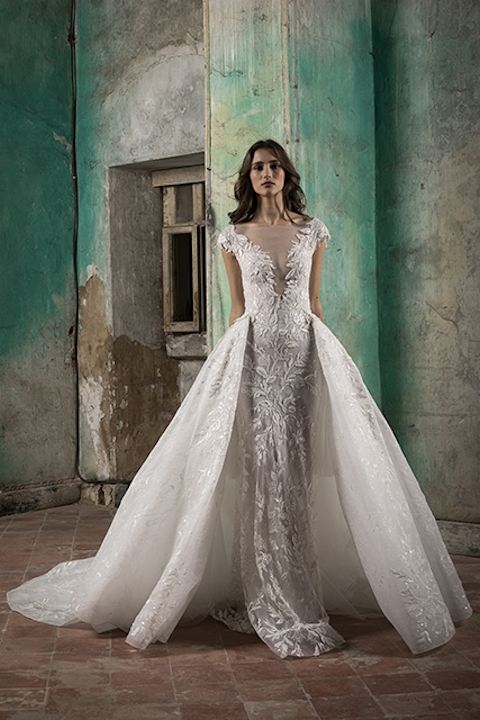 V-Neck Cap Sleeve A-Line Wedding Dress With Detabachable Overskirt by Tony Ward - Image 1