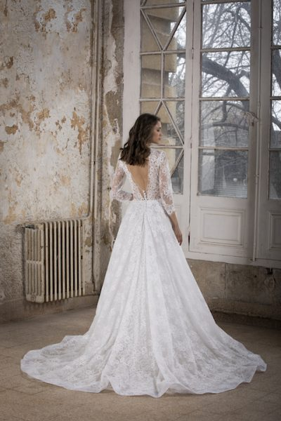 V-Neck Long Sleeve A-Line Wedding Dress With Lace Throughout by Tony Ward - Image 2