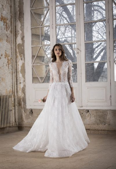 V-Neck Long Sleeve A-Line Wedding Dress With Lace Throughout by Tony Ward