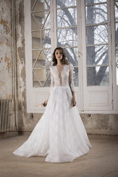 V-Neck Long Sleeve A-Line Wedding Dress With Lace Throughout by Tony Ward - Image 1