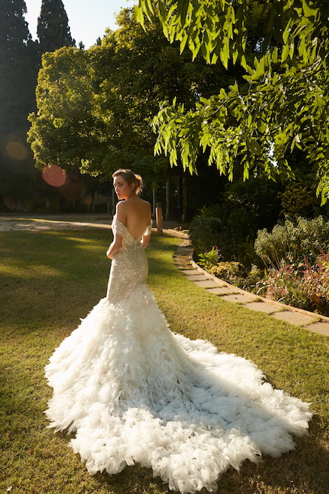 V-Neck Off The Shoulder Mermaid Wedding Dress With Beaded Detail by Tony Ward - Image 2