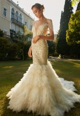 V-Neck Off The Shoulder Mermaid Wedding Dress With Beaded Detail by Tony Ward - Image 1